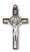 "Miraculous Medal Silver-Gold Crucifix Blue Enamel Epoxy Italy 3""...This exceptionally detailed die-cast crucifix is made in the region of Italy that produces the finest quality medals in the world."