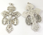 "3/Pc 3-WAY Pardon Crucifix with St Benedict and Miraculous Medal Silver 2"". The silver oxidized finish has been perfected for hundreds of years by the local Italian craftsmen, and remains unmatched in quality,"
