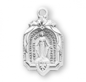 Cathedral shaped 1830 Miraculous Medal Solid Sterling Silver .1830 All of our Fine Sterling Silver Medals are made of only the finest materials available. Skilled American craftsmen producing only the finest quality Catholic jewelry-Pendants USA