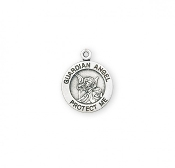 Bracelet Size Bracelet Parts Sterling Silver Guardian Angel Medal Medal-pendant. Catholic Medals->Guardian Angel round medal-pendant. Solid .925 sterling silver. Detail depicts an angel over a baby.