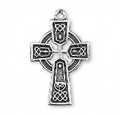 "Bracelet Parts Solid Sterling Silver Irish Celtic Cross Pendant. Solid .925 sterling silver. Medal is die struck. Hand polished and engraved by New England Silversmiths. Dimensions: 0.7"" x 0.4"" 0.5 Grams. Made in USA."