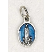 "25/Pc Tiny Oval Lady of Fatima Silver Medal BLUE Enameled Italy Italy-Premium Italian made Medals Genuine Silver Oxidized/Enameled Finish Bracelet parts, Necklace etc.. Great for watch, Bracelets, favors, Jewelry- 1/2"" Back of medal ""Pray For Us"""