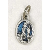 "25/Pc Tiny Oval Lady of Lourdes Silver Medal BLUE Enameled Italy-Premium Italian made Medals Genuine Silver Oxidized/Enameled Finish Bracelet parts, Necklace etc.. Great for watch, Bracelets, favors, Jewelry- 1/2"" Back of medal ""Pray For Us"""