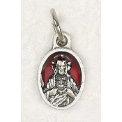 "25/Pc Tiny Oval Sacred Heart of Jesus Medal Silver RED Enamel Italy-Premium Italian made Medals Genuine Silver Oxidized/Enameled Finish Bracelet parts, Necklace etc.. Great for watch, Bracelets, favors, Jewelry- 1/2"" Back of medal ""Pray For Us"""