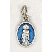 "25/Pc Tiny Oval St Peregrine Silver Medal BLUE Enameled Italy-Premium Italian made Medals Genuine Silver Oxidized/Enameled Finish Bracelet parts, Necklace etc.. Great for watch, Bracelets, favors, Jewelry- 1/2"" Back of medal ""Pray For Us"""
