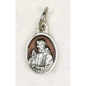 "10/Pc Tiny Oval St Padre Pio Silver Medal BROWN Enameled Italy-Premium Italian made Medals Genuine Silver Oxidized/Enameled Finish Bracelet parts, Necklace etc.. Great for watch, Bracelets, favors, Jewelry- 1/2"" Back of medal ""Pray For Us"""