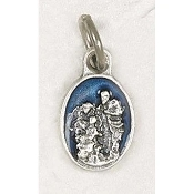 "25/Pc Tiny Oval Holy Family Silver Medal BLUE Enameled Italy .5""-Premium Italian made Medals Genuine Silver Oxidized/Enameled Finish Bracelet parts, Necklace etc.. Great for watch, Bracelets, favors, Jewelry- 1/2"" Back of medal ""Pray For Us"""