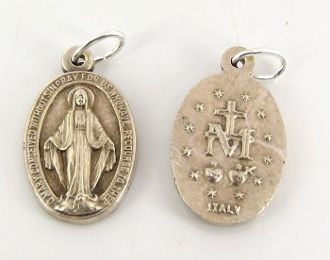 "Small Miraculous Medal Oval Genuine Silver Oxidized-Italy 5/8""-Imported Italy.The Miraculous Medal, also known as the Medal of the Immaculate Conception, is a medal created by Saint Catherine Labouré in response to a request.."
