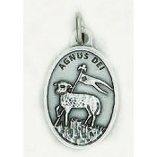 "Agnus Dei Genuine Silver Oxidized Medal 1"" Oval Italy 48/Pc A Great Deal! 1"" In Height - Most Popular Oval Design From Italy Die Cast for Exceptional Detail and Dimensional Finish. Can Wear Around Neck or Attach to Rosaries, Jewelry, Etc."