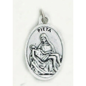 "Pieta Genuine Silver Oxidized Medal 1"" Oval Italy 48/Pc A Great Deal! 1"" In Height - Most Popular Oval Design From Italy Die Cast for Exceptional Detail and Dimensional Finish. Can Wear Around Neck or Attach to Rosaries, Jewelry, Etc."