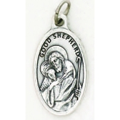 "Good Shepherd Genuine Silver Oxidized Medal 1"" Oval Italy 48/Pc A Great Deal! 1"" In Height - Most Popular Oval Design From Italy Die Cast for Exceptional Detail and Dimensional Finish. Can Wear Around Neck or Attach to Rosaries.."