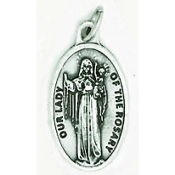 "Lady of the Rosary Genuine Silver Oxidized Medal 1"" Italy 48/Pc A Great Deal! 1"" In Height - Most Popular Oval Design From Italy Die Cast for Exceptional Detail and Dimensional Finish. Can Wear Around Neck or Attach to Rosaries.."