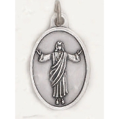 "Risen Christ Genuine Silver Oxidized Medal Oval 1"" Italy 48/Pc A Great Deal! 1"" In Height - Most Popular Oval Design From Italy Die Cast for Exceptional Detail and Dimensional Finish. Can Wear Around Neck or Attach to Rosaries.."