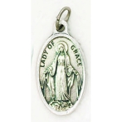 "Our Lady of Grace Genuine Silver Oxidized Medal 1"" Oval Italy 48/Pc A Great Deal! 1"" In Height - Most Popular Oval Design From Italy Die Cast for Exceptional Detail and Dimensional Finish. Can Wear Around Neck or Attach to Rosaries.."