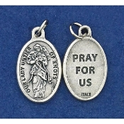 "Our Lady Untier of Knots Genuine Silver Oxidized Medal 1"" Oval Italy 48/Pc A Great Deal! 1"" In Height - Most Popular Oval Design From Italy Die Cast for Exceptional Detail and Dimensional Finish. Can Wear Around Neck or Attach to Rosaries.."