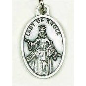 "Our Lady of Knock Genuine Silver Oxidized Medal 1"" Oval Italy 48/Pc A Great Deal! 1"" In Height - Most Popular Oval Design From Italy Die Cast for Exceptional Detail and Dimensional Finish. Can Wear Around Neck or Attach to Rosaries.."