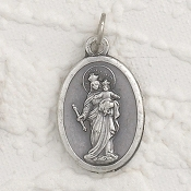 "Mary Help of Christians Genuine Silver Oxidized Medal 1"" Oval Italy 48/Pc A Great Deal! 1"" In Height - Most Popular Oval Design From Italy Die Cast for Exceptional Detail and Dimensional Finish. Can Wear Around Neck or Attach to Rosaries.."