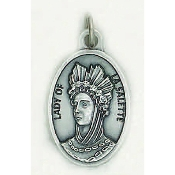"Our Lady of La Salette Genuine Silver Oxidized Medal 1"" Oval Italy 48/Pc A Great Deal! 1"" In Height - Most Popular Oval Design From Italy Die Cast for Exceptional Detail and Dimensional Finish. Can Wear Around Neck or Attach to Rosaries.."