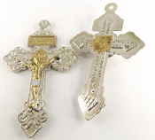 "Bright Silver Pardon Crucifix GOLD: Jesus and Silver ACCENTS 2"" INDULGENCE CROSS..Our Deluxe Pardon Crucifixes are known for the most Beautiful intricate designs- --Rosary making parts Necklace-"