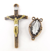 SET Copper Papal Crucifix w/ Matching Rosary Center Gold/Silver finish cross, a crucifix coated with an old-fashioned heirloom finish..2 pc Set One Crucifix and Matching Rosary Center Two-Tone Finish: Gold and Silver