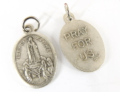 "Our Lady of Fatima MEDAL. A Great Deal! 1"" In Height - Most Popular Oval Design From Italy Die Cast for Exceptional Detail and Silver Oxidized Dimensional Finish. Can Wear Around Neck or Attach to Rosaries, Jewelry, Etc."
