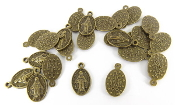 10/Pc Tiny Miraculous Medal OLD ANTIQUE BRONZE FINISH 1.4x0.9cm..Oval Miraculous medals to make Bracelets, rosary parts-Necklaces and Pendants. Measurement does not include eyelet