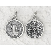 "Premium Italian St Benedict Medal Genuine Silver Oxidized 3/4""-This exceptionally detailed Medal is made in the region of Italy that produces the finest quality medals in the world. The silver oxidized finish has been perfected for hundreds of ..."
