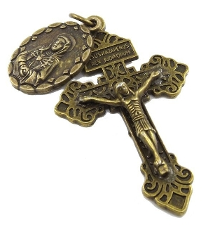 "Classic BRONZE Finish Pardon Crucifix and Our Lady of Sorrows Medal.. 2"" INDULGENCE CRUCIFIX Catholic Holy cross..Our Deluxe Pardon Crucifixes are known for the most Beautiful intricate designs"