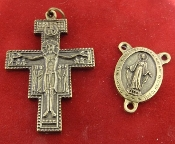 SET Brass Finish San Damiano Crucifix-Miraculous Centerpiece DIY Matching Set Premium Italian Made Rosary Parts 1 Crucifix San Damiano with Prayer on Back 44x31mm Weight Grams: 8.0 and 1 Centerpiece: Miraculous 23x17mm Weight Grams: 3.2