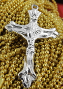 "10/Pc Deluxe 100% Stainless Steel Crucifix 1 1/2 x 1/2"" Rosary Parts or Necklace"