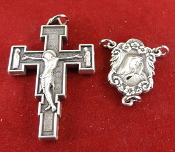 "DIY Premium Rosary Set Centerpiece USA and Crucifix ITALY-made of only the finest materials available.- 1 Sterling Silver Our Lady of Sorrows Rosary Centerpiece 0.7"" and 1) Premium CRUCIFIX Renaissance Silver Oxidized Italy 1.25"""