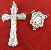 "DIY Premium Rosary Set Centerpiece USA and Crucifix ITALY-Our Deluxe Rosary Parts are known for the most Beautiful intricate designs. 1 Sterling Silver Our Lady of Sorrows Centerpiece 0.7"" 1 Premium Genuine Silver Oxidized Fancy Crucifix 1 1/4"""