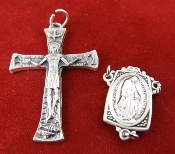 DIY Premium Rosary Set Centerpiece USA and Crucifix ITALY-Our Deluxe Rosary Parts are known for the most Beautiful intricate designs. Sterling Silver 1 Sterling Silver Miraculous Rosary Centerpiece - 1 Premium Genuine Silver Oxidized Crucifix.