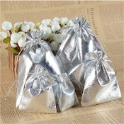 10/Pc Cloth Drawstring Pouches with Draw String Silver 5 x 7cm-10/Pc Cloth Drawstring Pouches with Draw String Silver 5 x 7cm Great for Jewelry, Rosaries and Bracelets