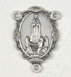 Deluxe Our Lady of Fatima Medal Centerpiece Rosary Parts Large selection of inexpensive rosary supplies made in Italy