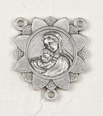 Deluxe Madonna and Child Centerpiece Rosary Parts Large selection of inexpensive rosary supplies made in Italy