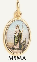 "Saint Martha Medal Gold Plated Color Picture 7/8"" oval Italy"