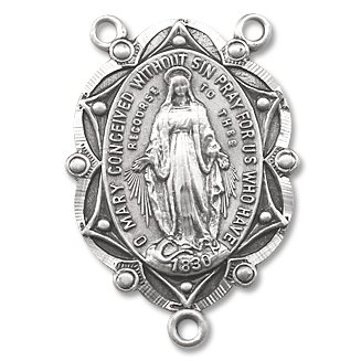 rosary parts,Miraculous Medal Sterling Silver Rosary Centerpiece 2.0x1.4cm