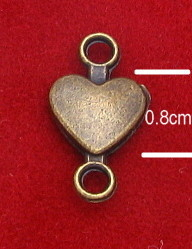 Inexpensive Tiny 3D Heart Connector 0.8cm Bronze Finish to Make rosaries or bracelets Silver Catholic Bracelet medals Parts religious Bracelet parts-WHOLESALE