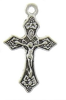 "Small Antique Silver Finish Crucifix 1"" x 11/16"" Rosary Bracelet Part-Necklace As Low As $0.39 Each"
