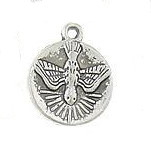 Tiny 1.3cm Holy Spirit Bracelet Charm Round Silver Antique