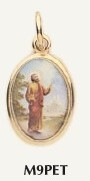 "Saint Peter Medal Gold Color Picture 7/8"" oval charm Italy"
