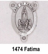 "PRAY FOR US On back Silver Plated finish. Our Lady of Fatima Silver Finish Rosary Centerpieces 7/8"" Rosary Parts"